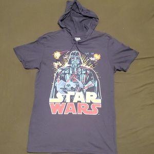 NWOT Star Wars Short Sleeve Hoodie Tshirt Size SM